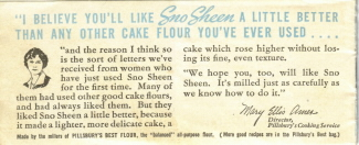 Pillsbury Sno Sheen Cake Flour Recipe Booklet - Back Cover