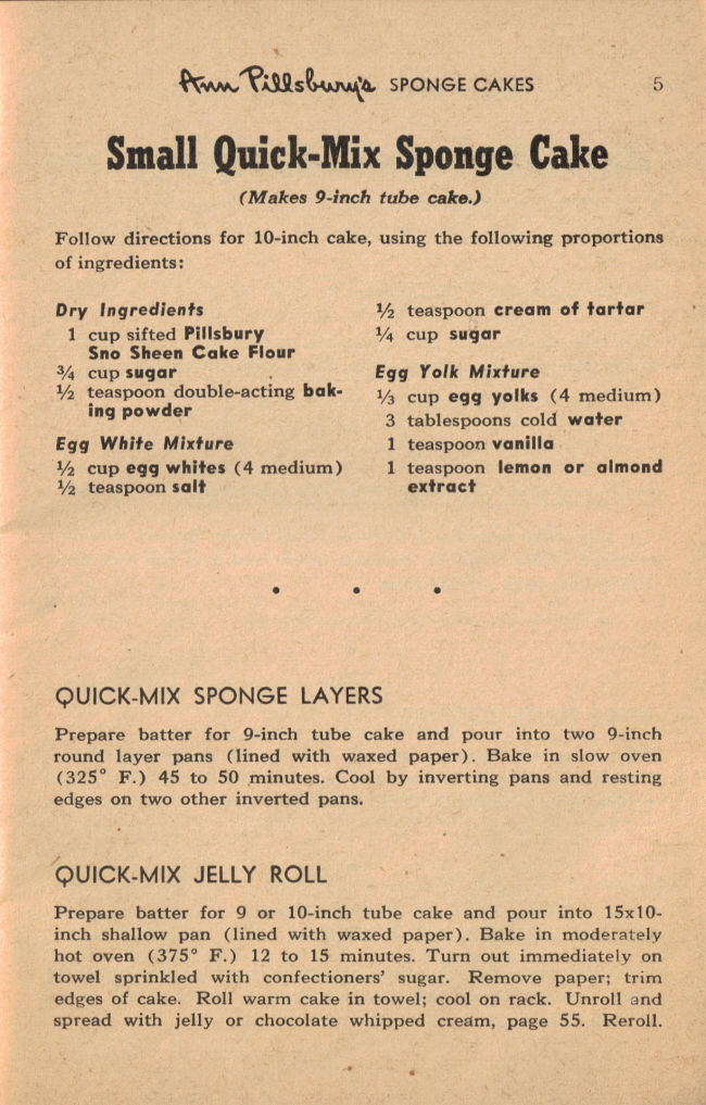 Small QuickMix Sponge Cake Vintage 55 Favorite Cake Recipes