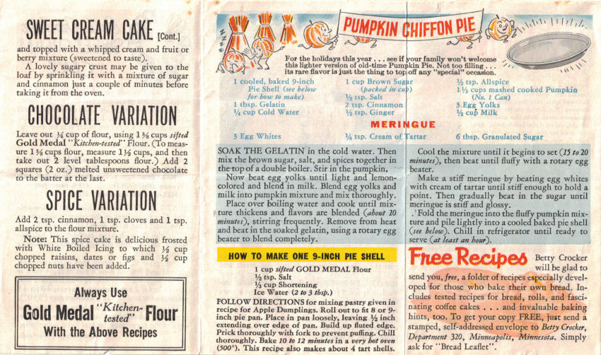 Series 3 Vintage Betty Crocker Recipe Sheet