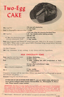 Series No. 1 - Betty Crocker Recipe Sheet - Click To View Larger