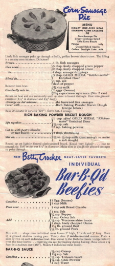 Vintage Betty Crocker Recipe Promo Sheet - Back - Part 1