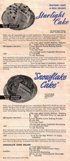 Vintage Betty Crocker Recipe Promo Sheet - Front - Part 2
