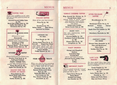 Pages 4 & 5 - Menus - Betty Crocker's Bisquick Party Book - Click To View Larger