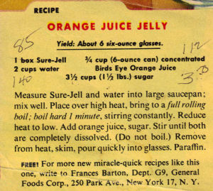 Orange Juice Jelly Vintage Recipe Clipping