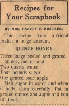 Quince Honey Recipe Clipping
