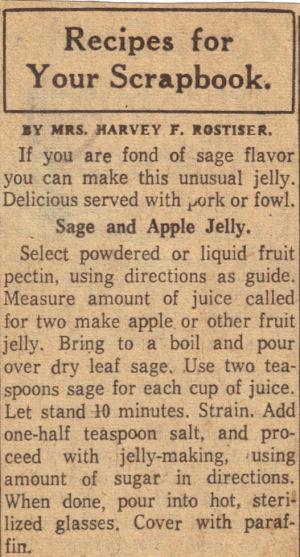 sage u0026 apple jelly recipe clipping - Apple Jelly Recipes