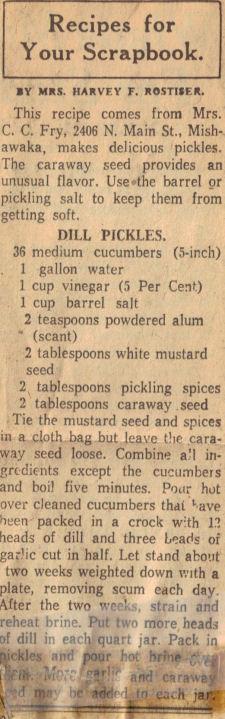 Vintage Dill Pickles Recipe Clipping « RecipeCurio.com