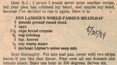 ... comAnn Landers World Famous Meatloaf Recipe Clipping | RecipeCurio.com