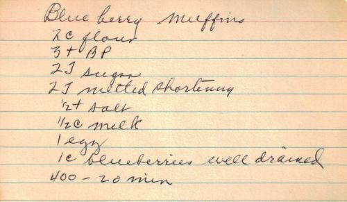 Handwritten Blueberry Muffins Recipe Card