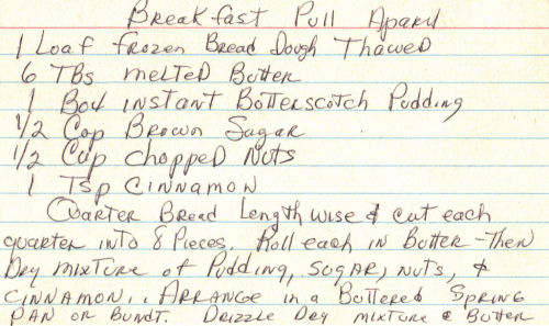 Breakfast Pull Apart Recipe Card  Handwritten  RecipecurioCom