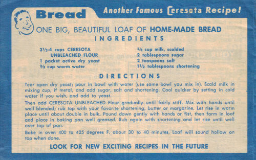 Vintage Ceresota Bread Recipe (1957)