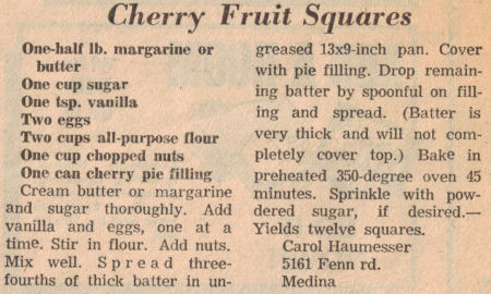 Cherry Fruit Squares Recipe Clipping