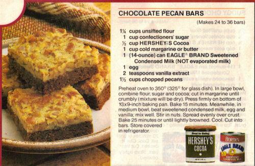 chocolate pecan bars makes 24 to 36 bars