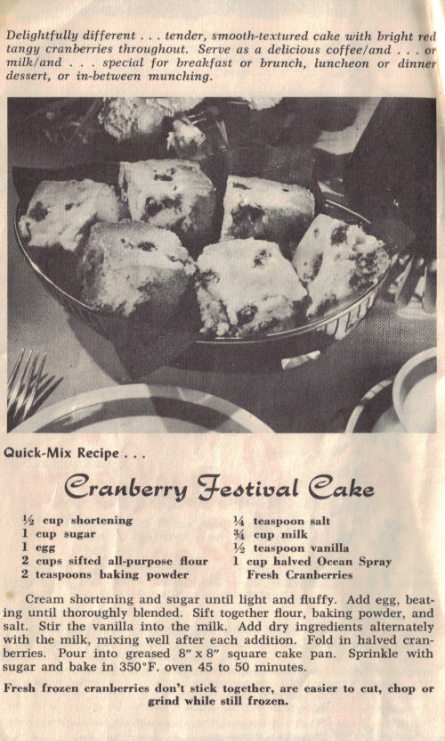 Vintage Cranberry Festival Cake Recipe Page