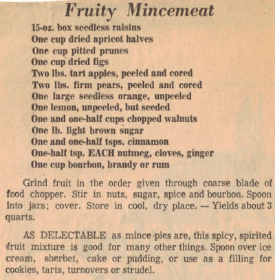 Fruity Mincemeat Recipe Clipping