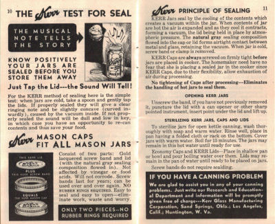 Principle of Sealing - Vintage Home Canning Guide - Click To View Larger