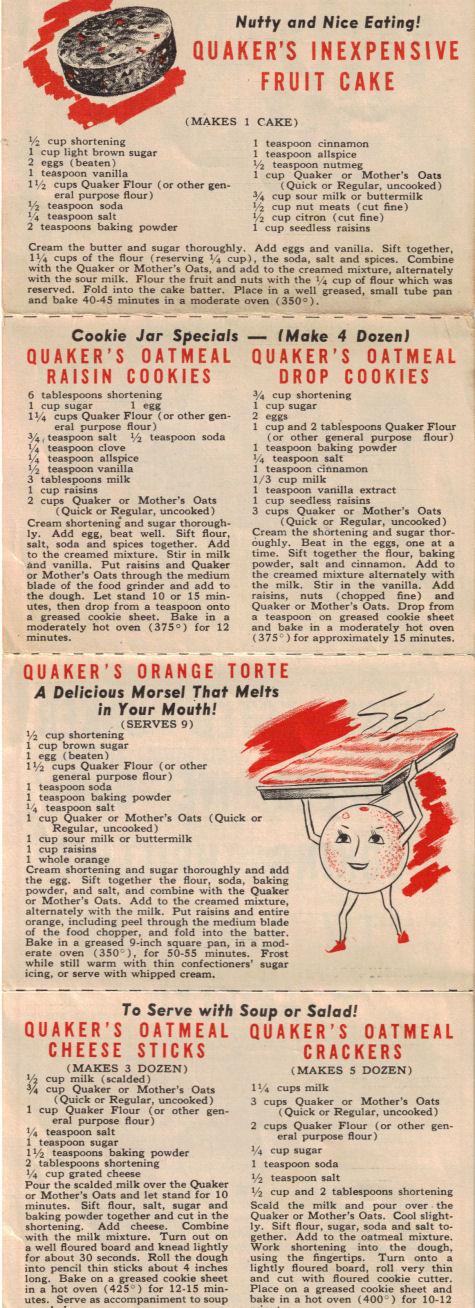 12 Vintage Quaker Oats Recipes Folder Recipecurio Com