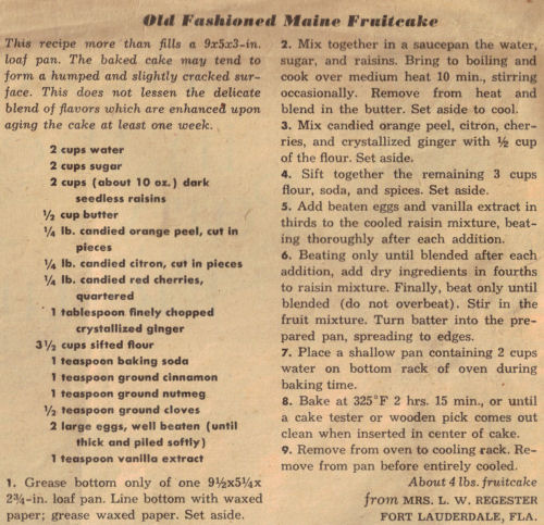 Old Fashioned Maine Fruitcake Recipe Clipping