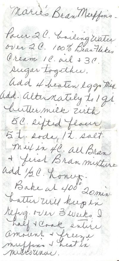Marie's Handwritten Bran Muffins Recipe