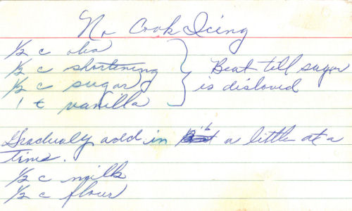 Handwritten Recipe For No Cook Icing