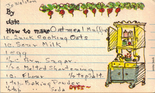 Oatmeal Muffins Handwritten Recipe Card