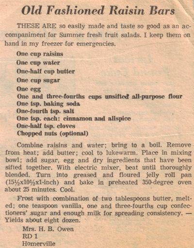 Old Fashioned Raisin Bars Recipe Clipping « m
