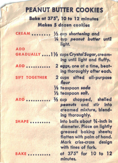 Peanut Butter Cookies - Vintage Recipe Clipping