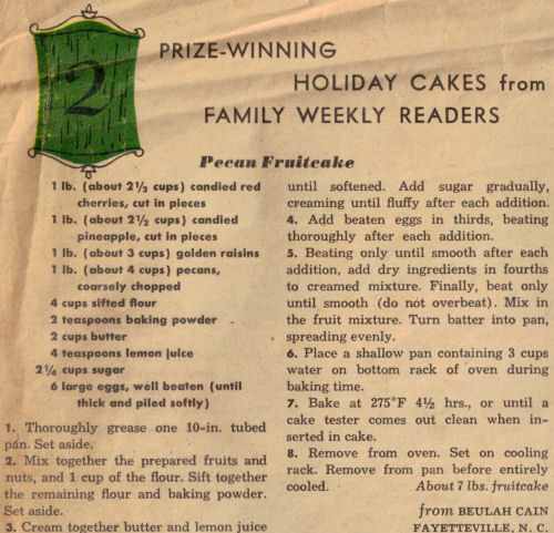 Pecan Fruitcake Recipe - Vintage Clipping