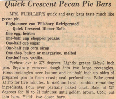 Quick Crescent Pecan Pie Bars Recipe Clipping