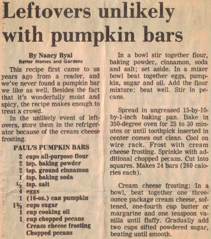 Paul's Pumpkin Bars Recipe Clipping