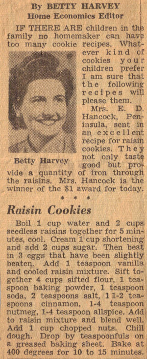 Vintage Raisin Cookies Recipe Clipping
