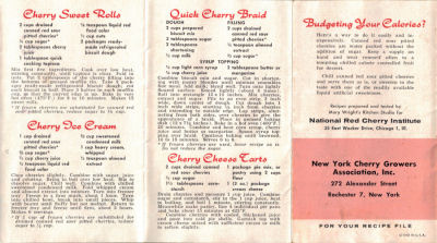 New Recipes For Red Cherries - Vintage Booklet - Click To View Larger