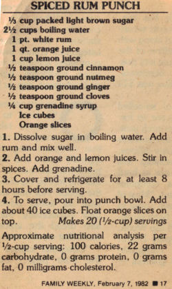 Spiced Rum Punch Recipe Clipping