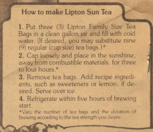 Sun Tea Recipe Clipping