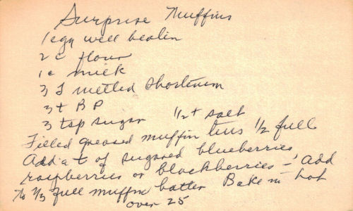 Surprise Muffins Recipe - Handwritten Card