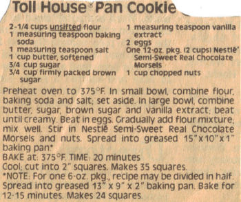 Toll House Pan Cookie Cake