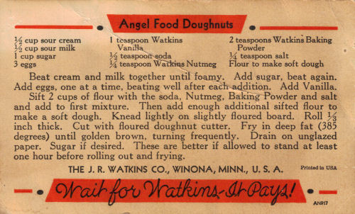 Angel food doughnuts recipe card recipecurio vintage watkins angel food doughnuts recipe card forumfinder Choice Image