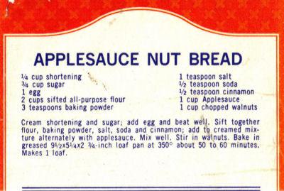 Applesauce Nut Bread Recipe Clipping