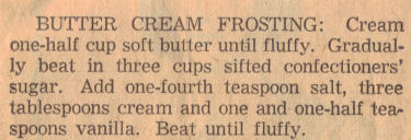 Butter Cream Frosting Recipe Clipping