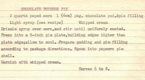 Recipe Card For Chocolate Popcorn Pie