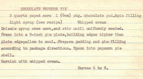 Recipe Card For Chocolate Popcorn Pie