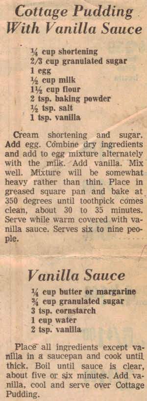 Recipe Clipping For Cottage Pudding With Vanilla Sauce