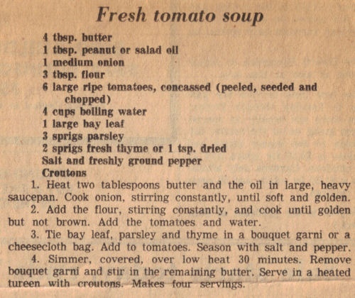 Recipe Clipping For Fresh Tomato Soup