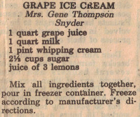 Grape Ice Cream Recipe Clipping