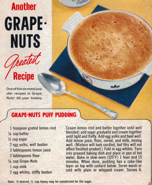 Grape-Nuts Puff Pudding Recipe