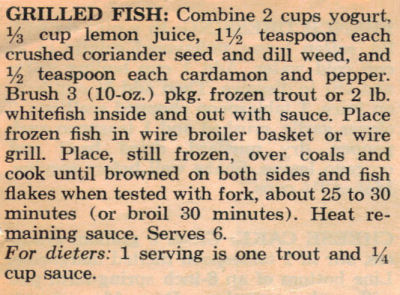 Recipe Clipping For Grilled Fish