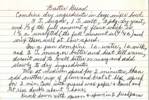 Handwritten Recipe For Batter Bread