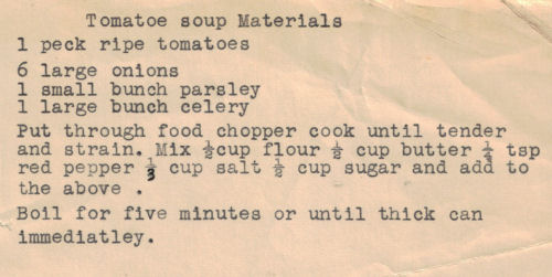 Homemade Tomato Soup Recipe Card