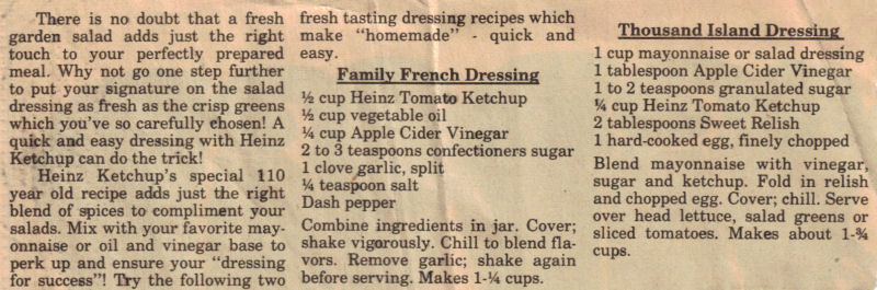 dressings for salads. on the salad dressing