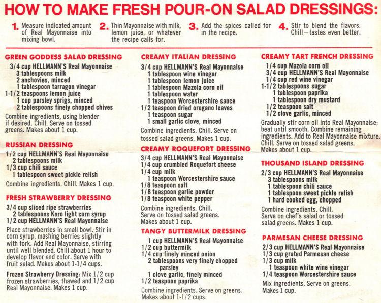 Recipes for salad dressing